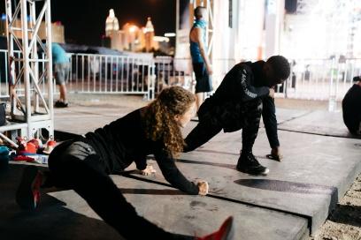 AMERICAN NINJA WARRIOR -- Las Vegas Finals BTS -- Pictured: (l-r) -- (Photo By: Ryan Tuttle/NBC)